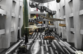 "Atrium of IWM London with the artwork ""History of Bombs"" by Ai Wei Wei."