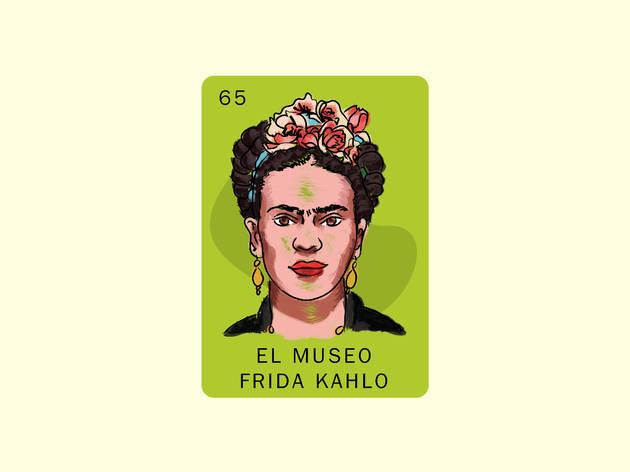 Retrato ilustrado de Frida Kahlo en fondo verde