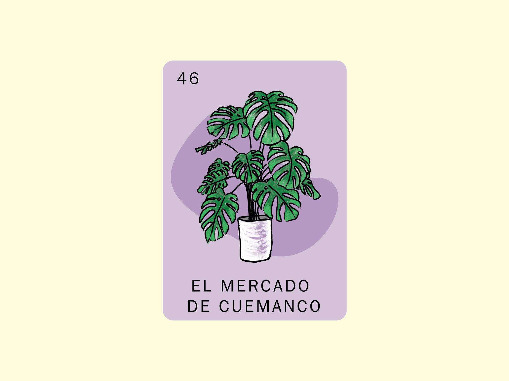 Ilustración de una planta con fondo morado