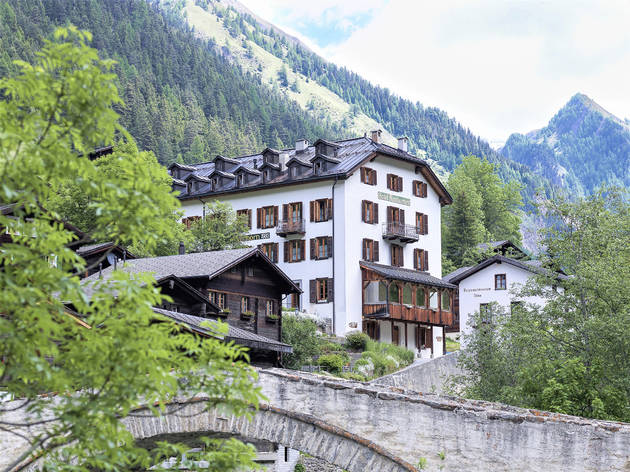 A historic hotel in the Swiss Alps.