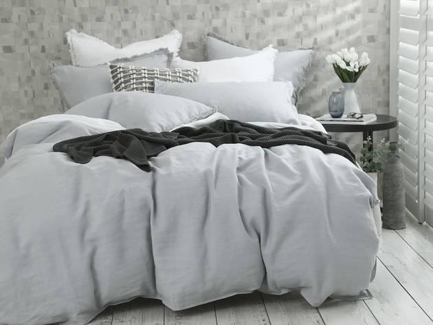 Pewter coloured bed linen from Kogarah Manchester Warehouse