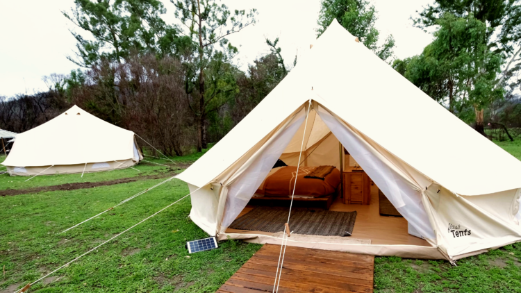 Tent with open flap