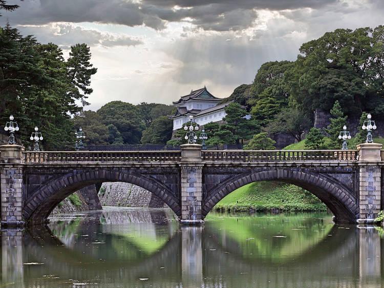 A classic Japanese stone bridge