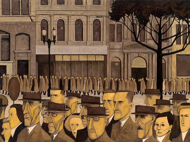 John Bracks' painting ''Collins St 5P.M.'. It features a stylised painting of Collins Street, Melbourne lined with office workers with angular, sallow faces.
