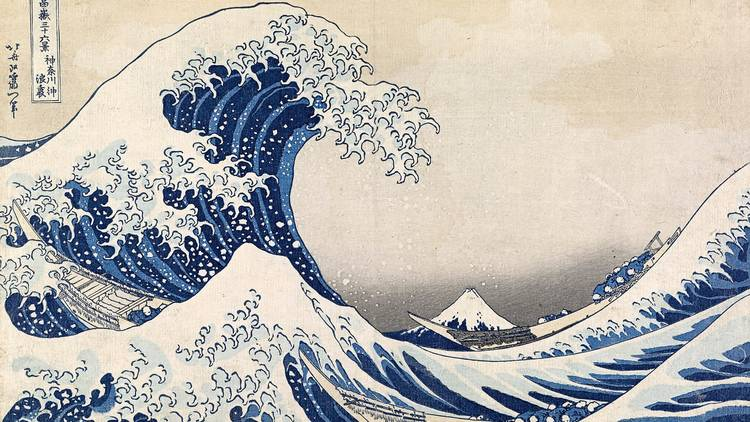 A woodblock print featuring a giant wave. A snow capped mountain is in the distance.