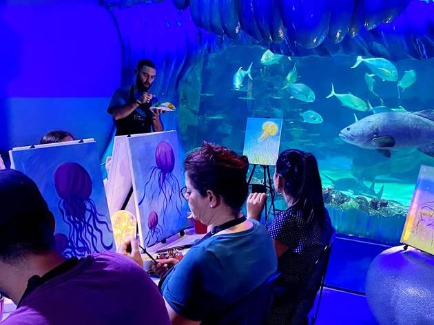 Champainting at Sea Life Sydney Aquarium
