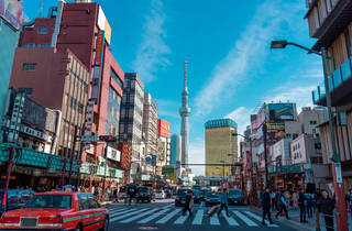 Tokyo Skytree Asahi building blurred