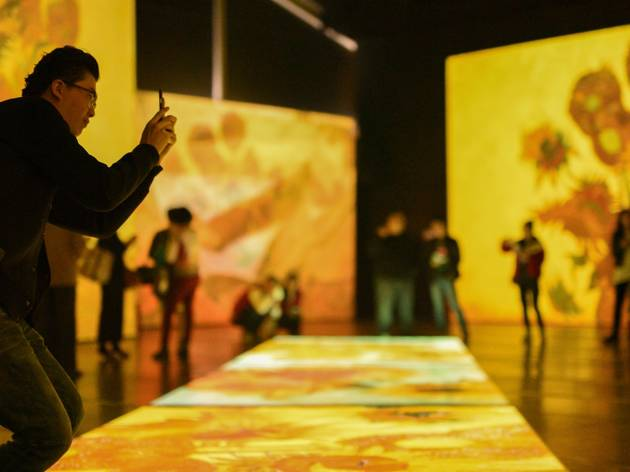 A man takes a photograph of a hue projection of Van Gogh's  'Sunflowers'