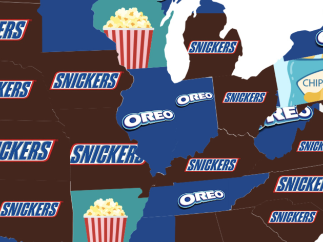 Favorite study snacks in each state