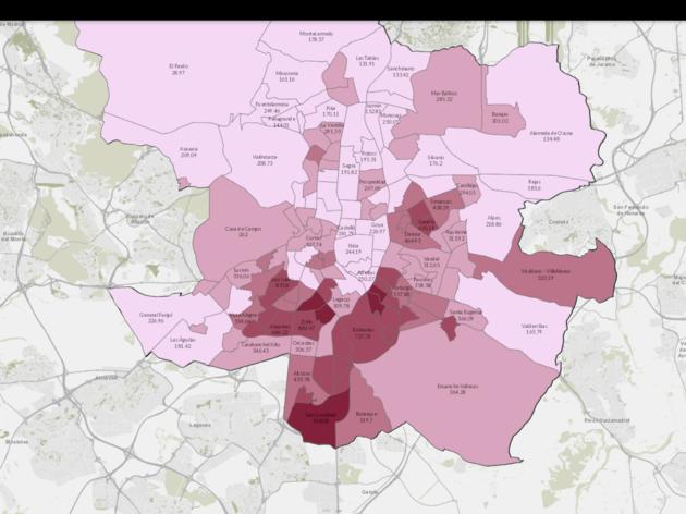 Mapa interactivo de contagios por distritos de Madrid