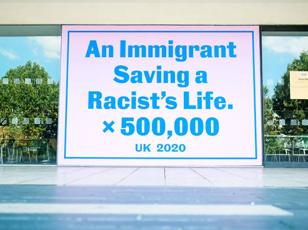 Installation view of Jeremy Deller, 'An immigrant saving a racist's life x 500,000', 2020 at Southbank Centre's 'Everyday Heroes'