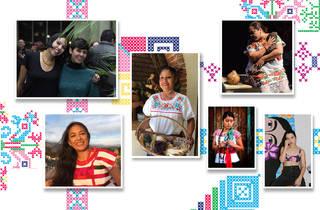 Collage de rostros de mujeres indígenas