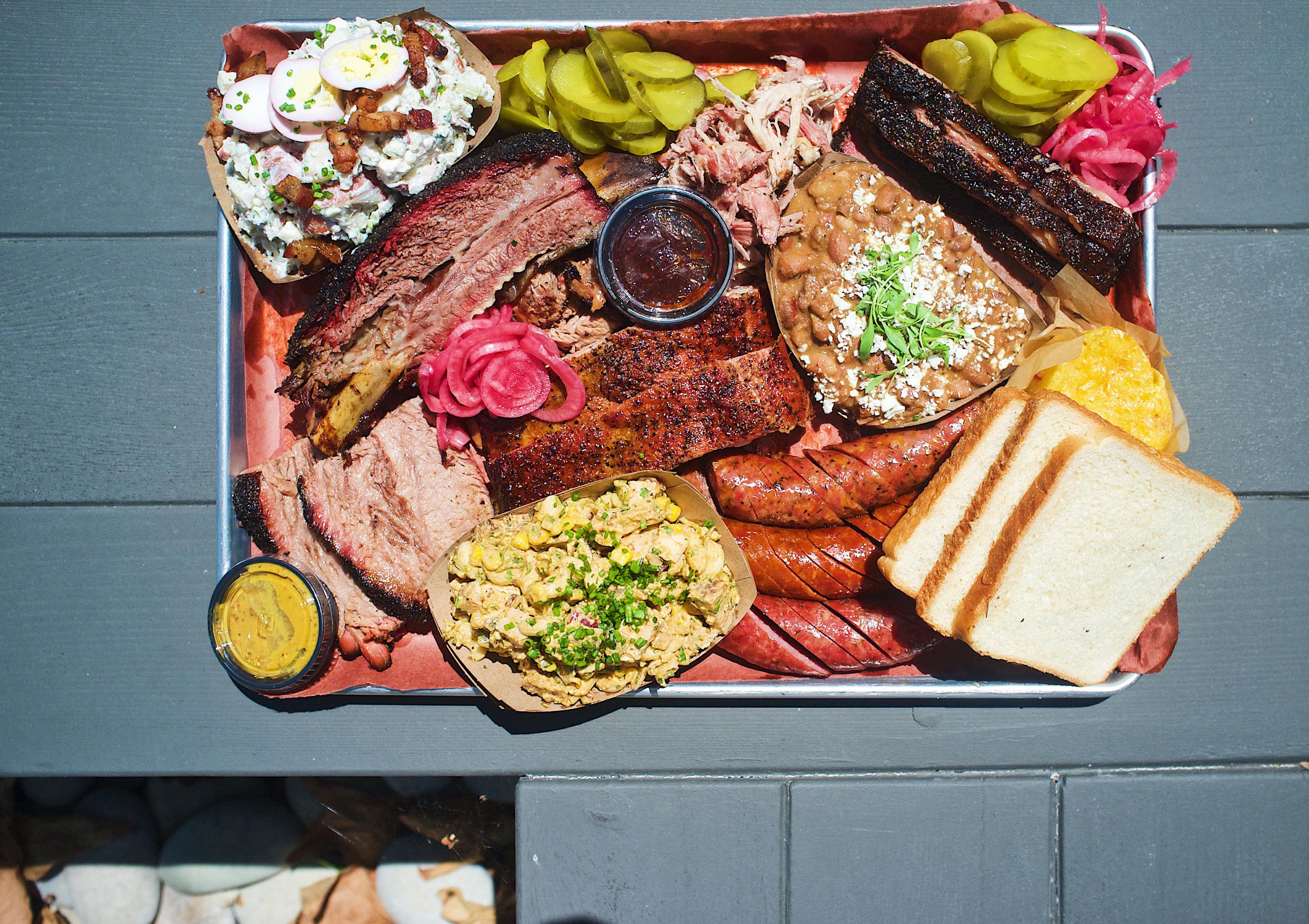 BBQ tray at Heritage Barbecue in San Juan Capistrano
