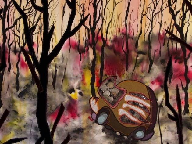 A strange car-like shape in a bright bushfire backdrop