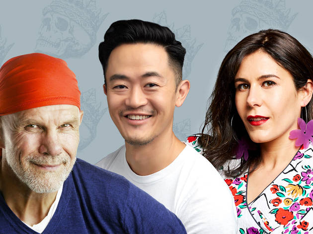 Benjamin Law, Jan Fran and Peter Fitzsimons against a backdrop of skulls wearing crowns