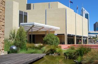 Exterior view of the Art Gallery of Western Australia taking in the wetlands