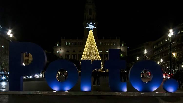 luzes, natal, porto, noite