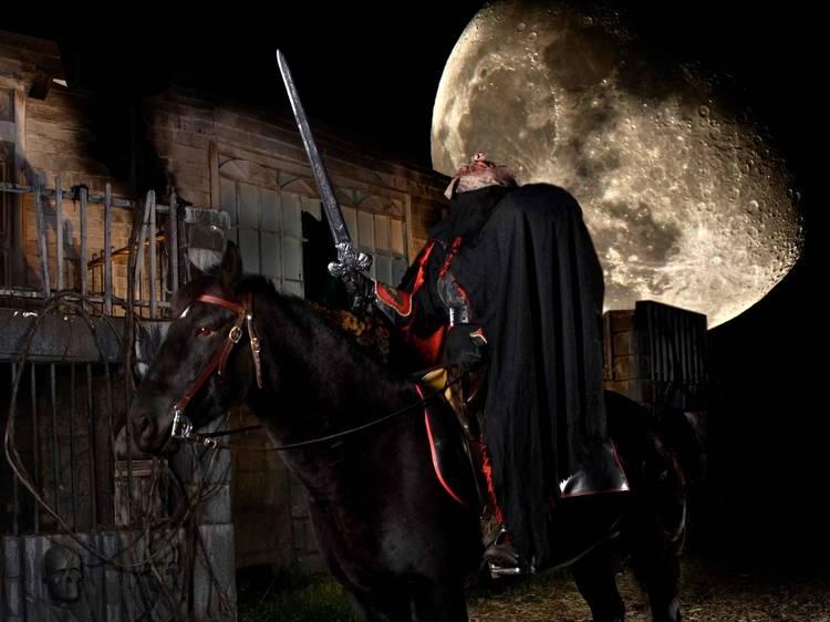 A headless horseman haunted drive-thru