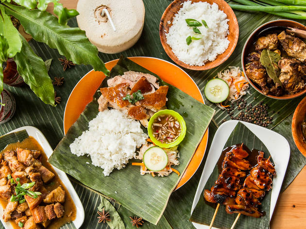 A spread of Filipino food from Cebu Lechon