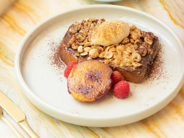 French toast with nuts on top