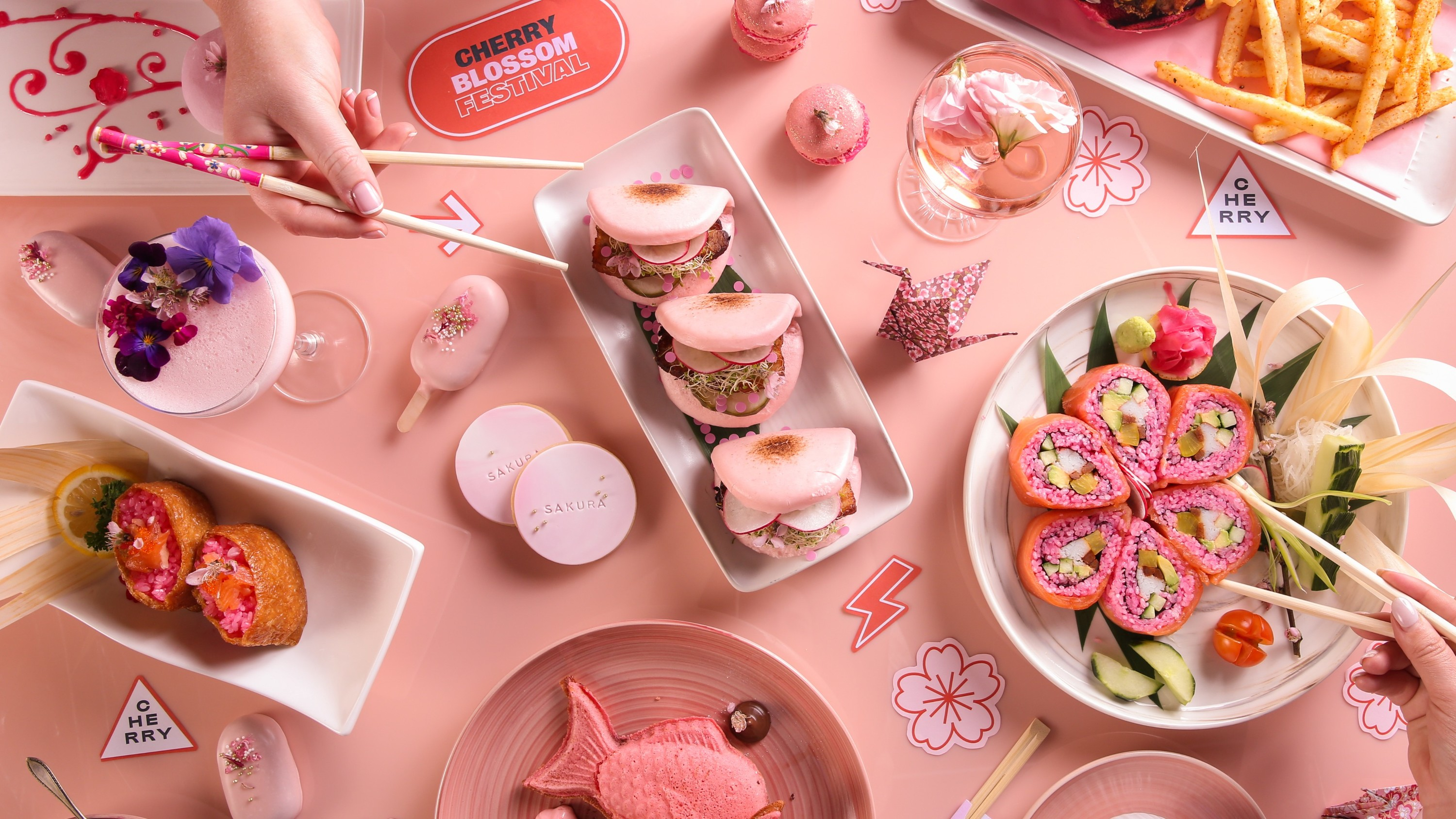 Pink food on a table