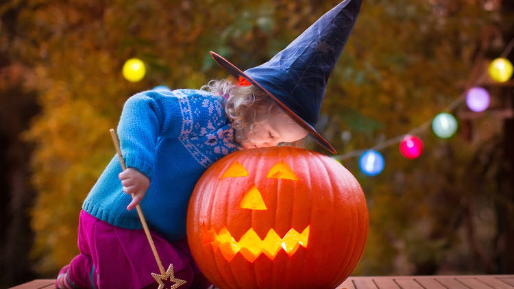 halloween child jack o'lantern