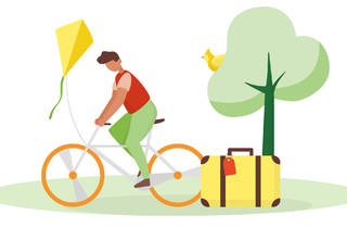 Illustration of a man riding a bicycle with a kite and suitcase