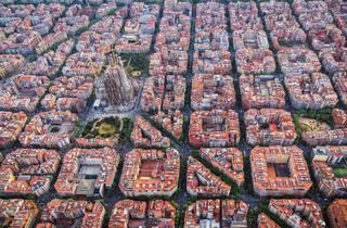The Eixample, Sagrada Família, aerial view