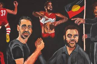 Vincent Namatjira's winning portrait of Adam Goodes 'Stand strong for who you are' (cropped)