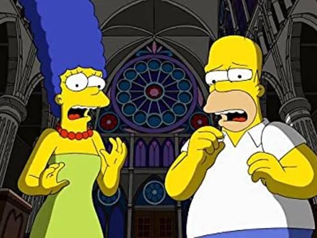 Imagen de Homero y Marge en capítulo de La casita del horror