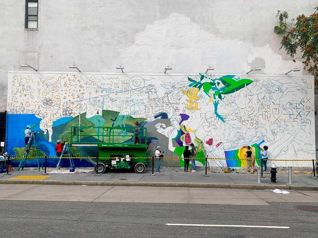 A stunning new mural is being painted at the Bowery Wall