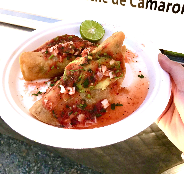 Tacos dorados de camaron at Mariscos Jalisco in Los Angeles