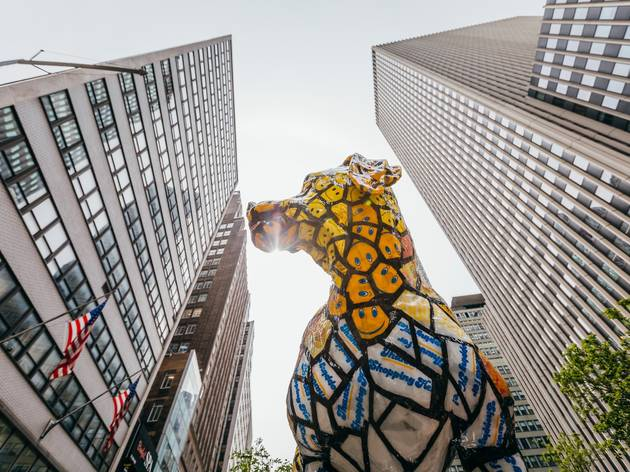 Gigantic dog statues have been installed in the Garment District