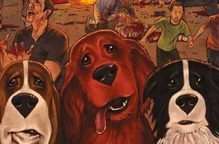 Ilustración de tres perros del cómic Rover Red Charlie