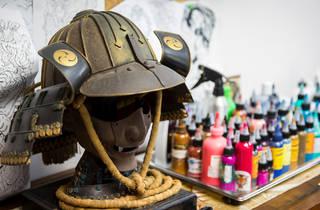 A Japanese Samurai mask at Lighthouse Tattoo