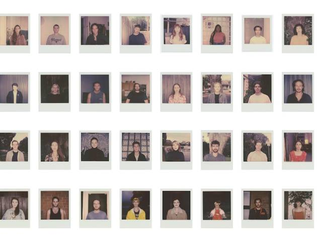 A montage of some of the polaroid portraits on show in Jasmin Simmons' exhibition While There's Space Between Us