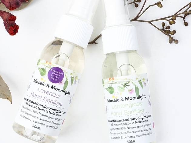 Lavender and lemongrass hand sanitiser from Mosaic and Moonlight