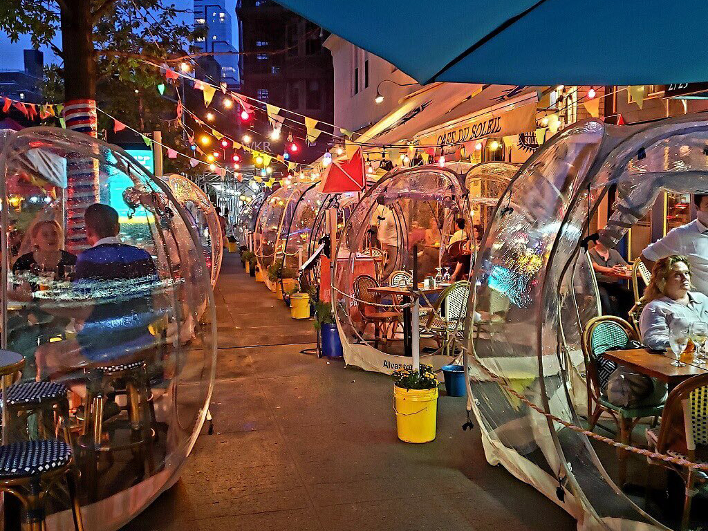"An Upper West Side restaurant installed ""space bubbles"" for outdoor dining this fall"