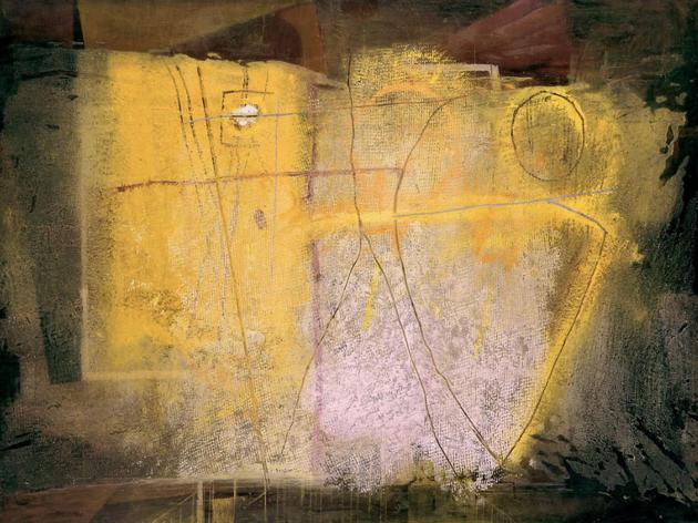 'Negre i groc. Llapis i pastel III' (1953), d'Antoni Tàpies. Col·lecció particular