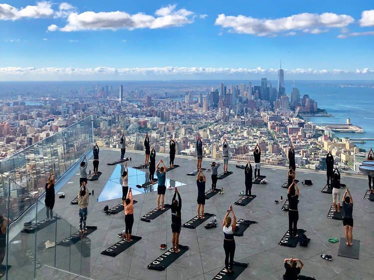 Equinox yoga on top of Edge