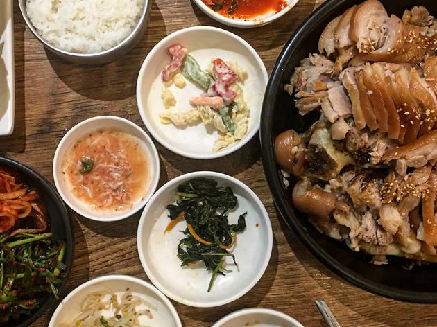 Korean cuisine including pork and banchan