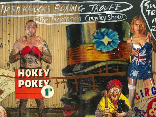 Karla Dickens collage art work Hokey Pokey shows a tattooed boxing man and a woman in a sequinned Australian flag dress