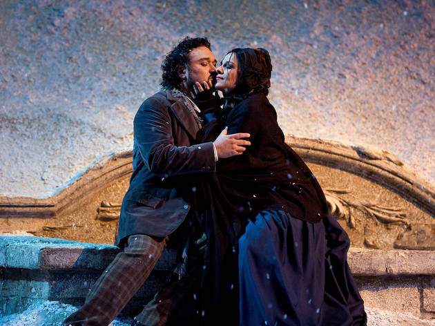 "Ramon Vargas as Rodolfo and Angela Gheorghiu as Mimi in Puccini's ""La Boheme.""Photo: Marty Sohl/Metropolitan OperaTaken during the March 27, 2008 rehearsal at The Metropolitan Opera House in New York City."
