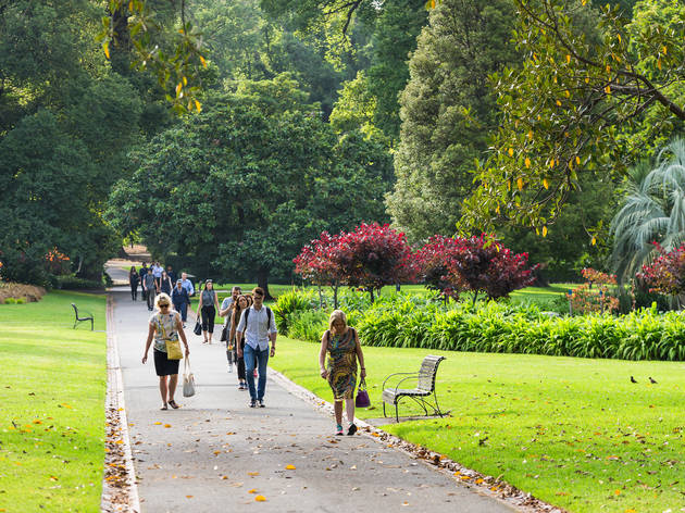 People walking along the Royal Botanic Gardens pathway in Melbourne, 2019.