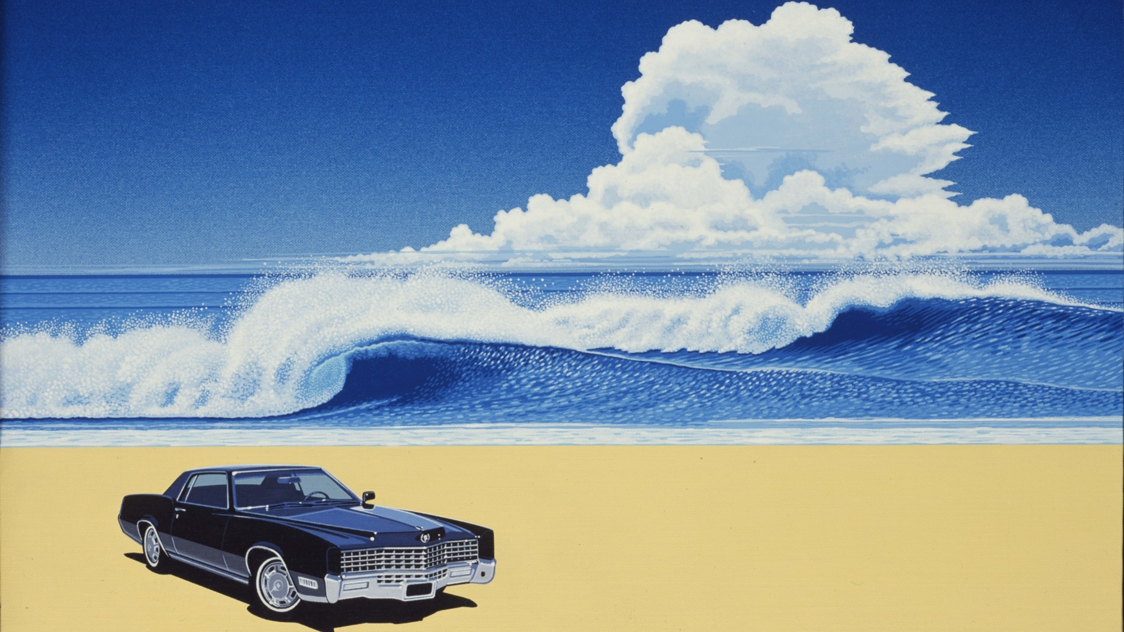 A painting of a dark blue boxy car on a sandy beach with big surf in a blue ocean and a huge cloud in a big blue sky