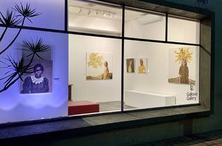 A through-the-window view of artworks at Gallows Gallery