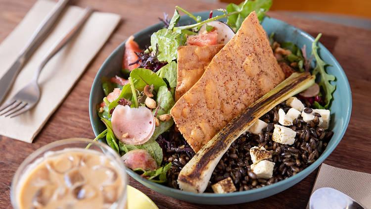 Two Chaps salad with lavosh (Photograph: Daniel Boud)