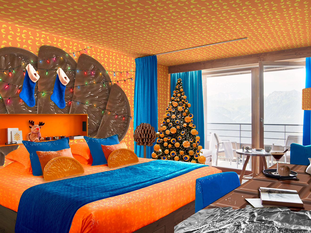 A chocolate orange-themed hotel room is opening at this French ski resort