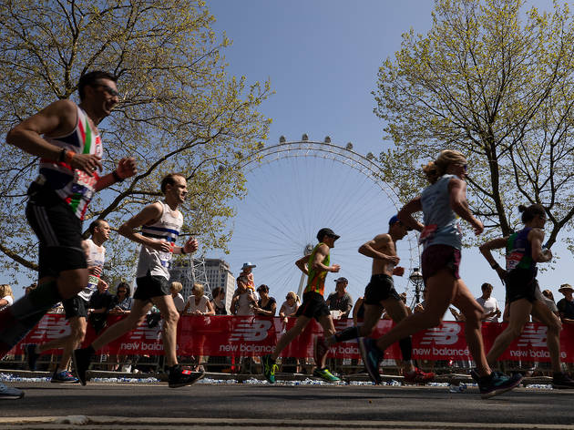 The runners pass the London Eye during the Virgin Money London Marathon, 22 April 2018.Photo: Ian Walton for Virgin Money London MarathonFor further information: media@londonmarathonevents.co.uk