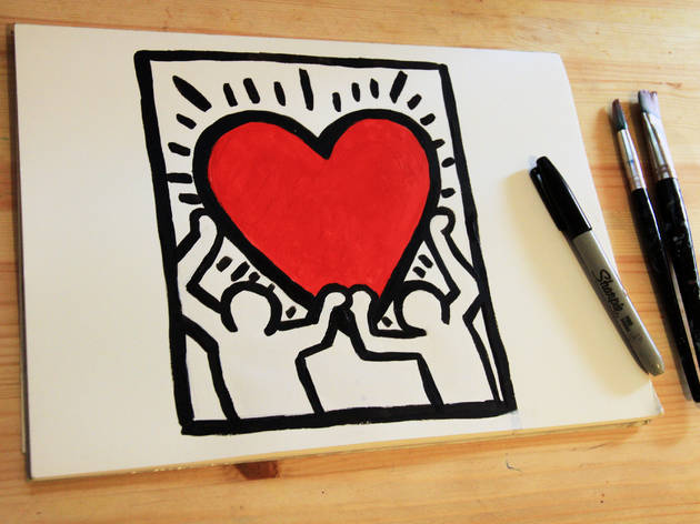 A drawing that replicates a keith haring artwork featuring two people and a love heart